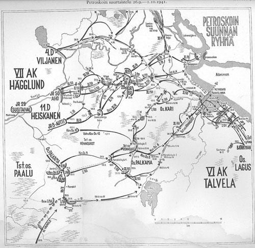 Продвижение финских войск на Петрозаводск с 26.09.1941 г. по 1.10.1941 г.