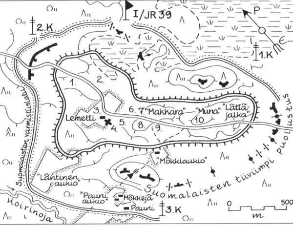 Карта-схема окруженного гарнизона в Южном Леметти