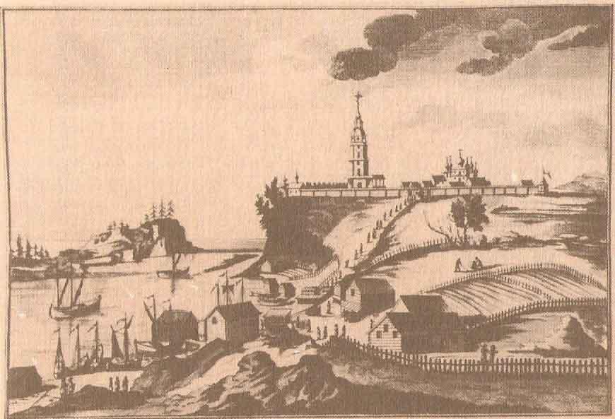 Валаамский монастырь. Гравюра И.Х.Майра. Конец XVIII века.